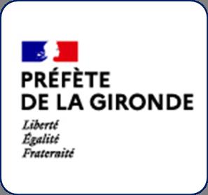 Logo représentant la préfecture de la Gironde (33) et permettant d'accéder aux informations et ressources concernant les violences conjugales dans ce département.