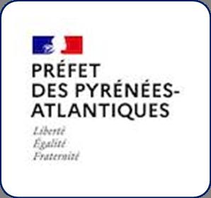 Logo représentant la préfecture des Pyrénées-Atlantiques (64) et permettant d'accéder aux informations et ressources concernant les violences conjugales dans ce département.