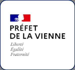 Logo représentant la préfecture de la Vienne (86) et permettant d'accéder aux informations et ressources concernant les violences conjugales dans ce département.