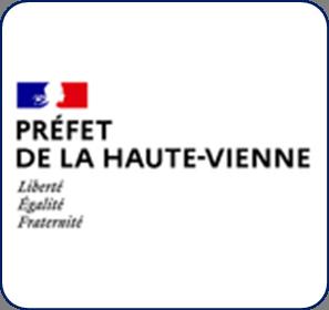 Logo représentant la préfecture de la Haute-Vienne (87) et permettant d'accéder aux informations et ressources concernant les violences conjugales dans ce département.