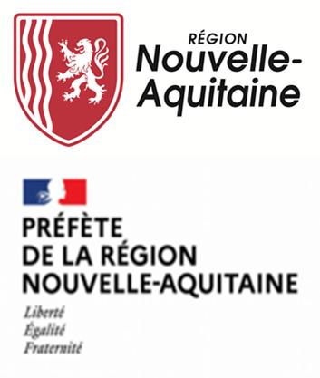 Logos de la région Nouvelle-Aquitaine et de la préfecture de la région Nouvelle-Aquitaine.