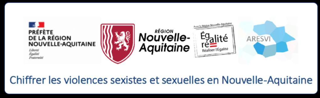 """Image représentant les logos de la préfecture et de la région Nouvelle-Aquitaine ainsi que d'ARESVI. Elle a pour titre """"Chiffrer les violences sexistes et sexuelles en Nouvelle-Aquitaine"""" et permet d'accèder au document du même nom."""