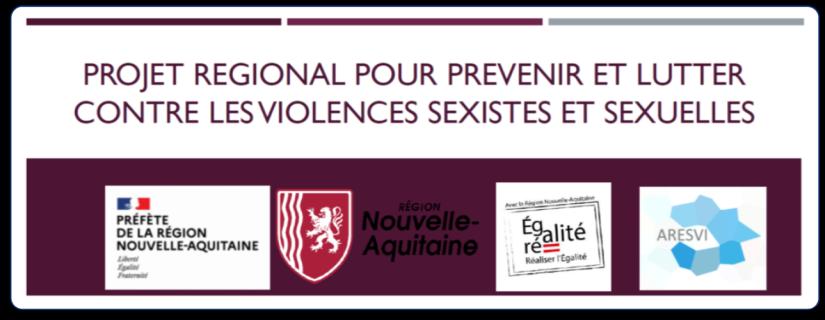 """Image représentant les logos de la préfecture et de la région Nouvelle-Aquitaine ainsi que d'ARESVI. Elle a pour titre """"Projet régional pour prévenir et lutter contre les violences sexistes et sexuelles"""" et permet d'accèder au document du même nom."""
